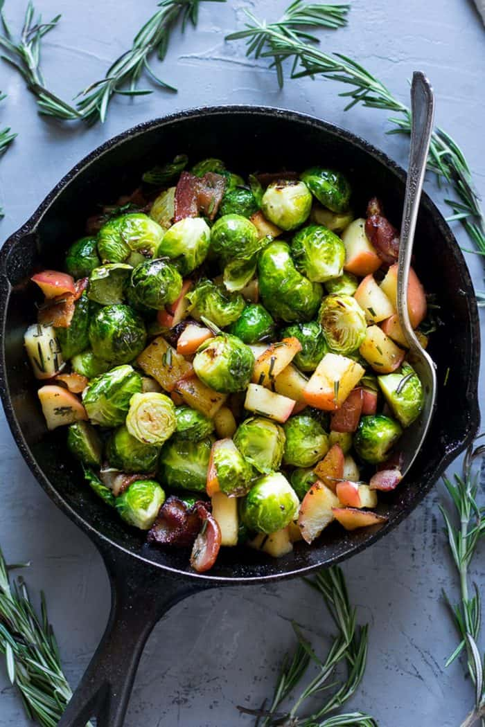 Paleo Roasted Brussels Sprouts with Bacon & Apples by Paleo Running Mom