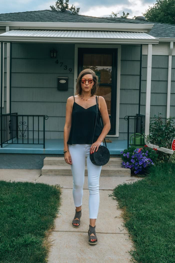 Amerii Rattan Black Bag, white jeans black tank top | Blue Mountain Belle