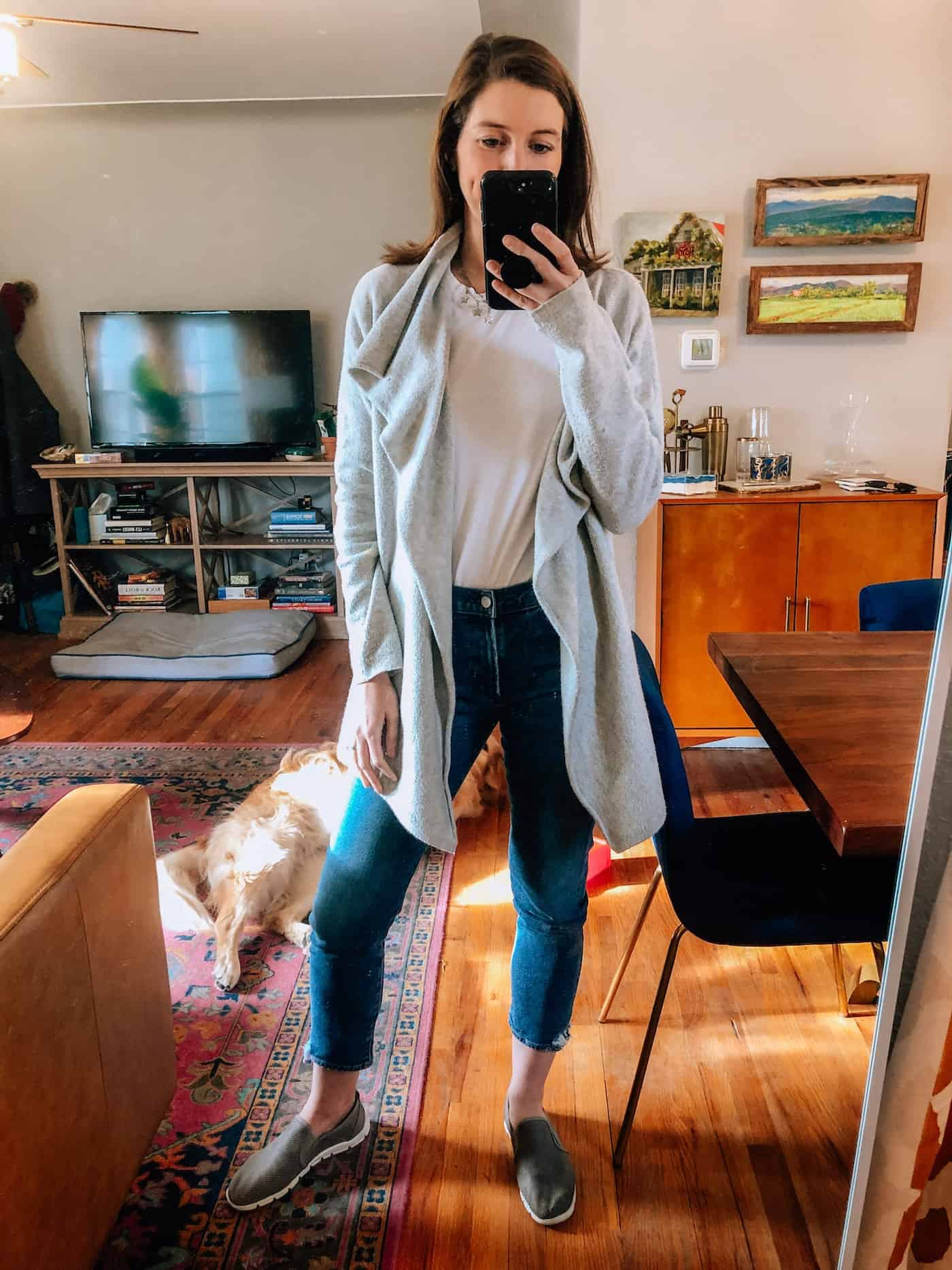 Casual work from home look - jeans, white tee and gray sweater